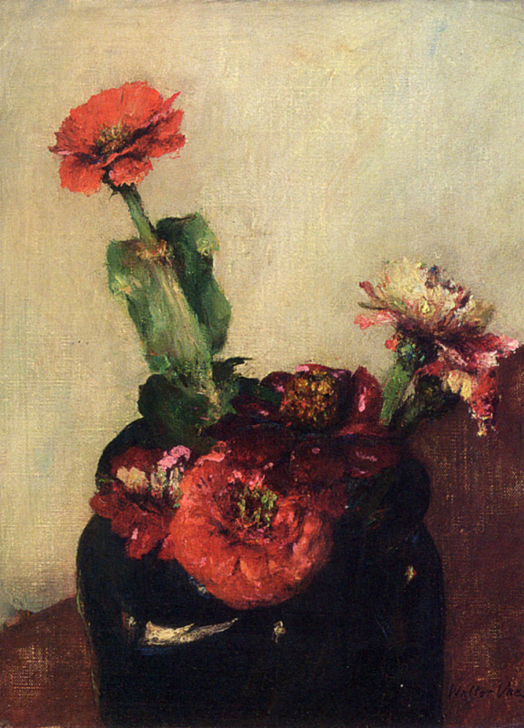 Уолтер Ваес. Красные цветы в вазе