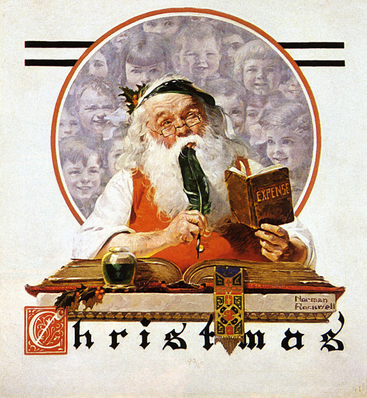 """Norman Rockwell. The account book of Santa Claus. Cover of """"The Saturday Evening Post"""" (4 Dec 1920)"""