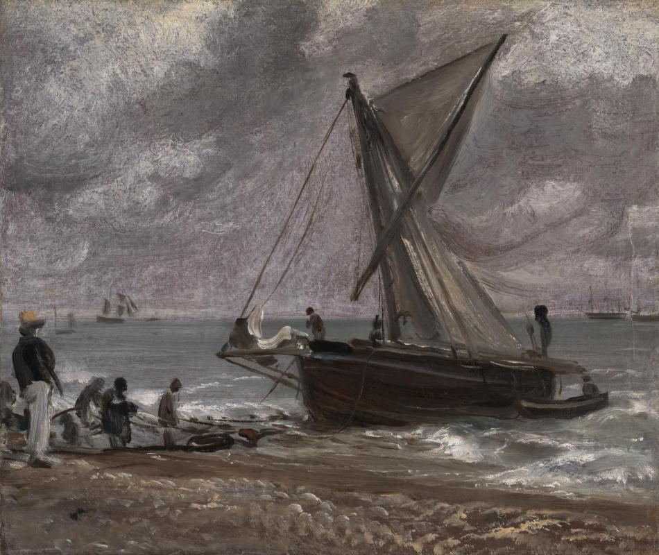 Джон Констебл. Подведение лодки к берегу. Брайтон