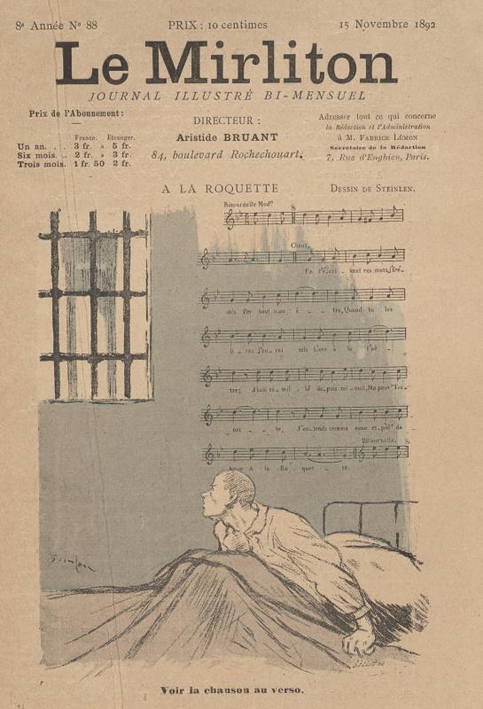 "Theophile-Alexander Steinlen. Illustration for the magazine ""Mirliton"" No. 88, November 2, 1892"