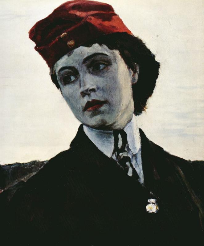 "Mikhail Vasilyevich Nesterov. A portrait of his daughter Olga Mikhailovna Nesterova (""Amazon""). Fragment"