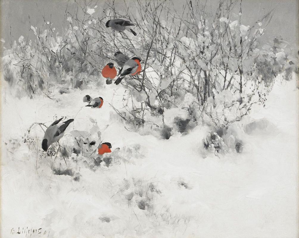 Бруно Лильефорс. Зимний пейзаж со снегирями