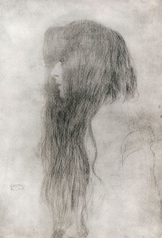 The profile of a girl with long hair