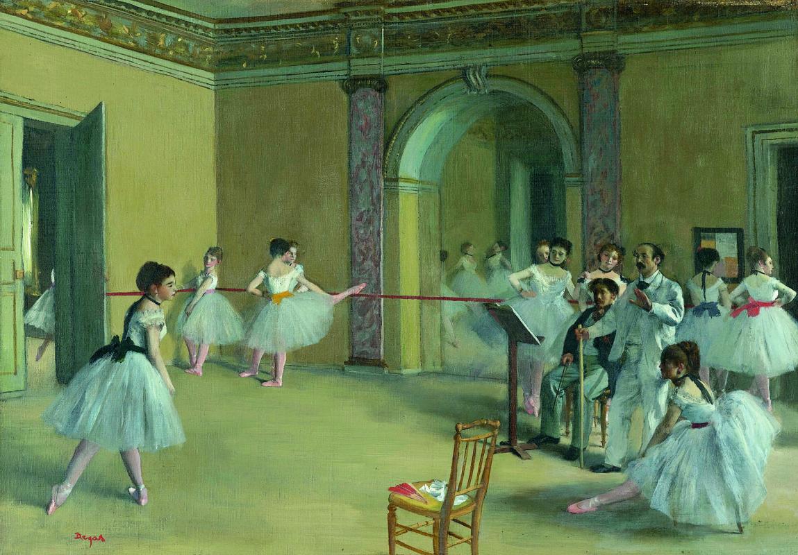 Эдгар Дега. Урок танца в оперном театре на улице Ле-Пелетье