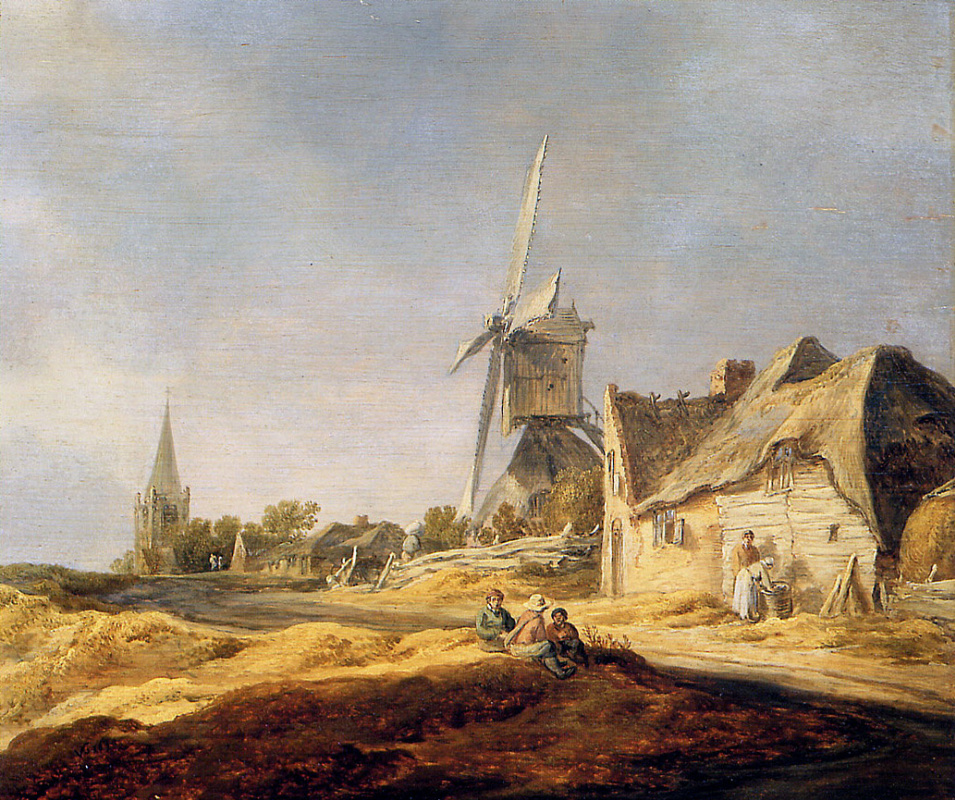 Jan van Goyen. View of country road with a windmill