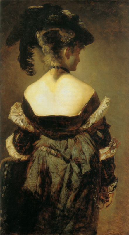 Hans Makart. The lady with the feathers on the hat
