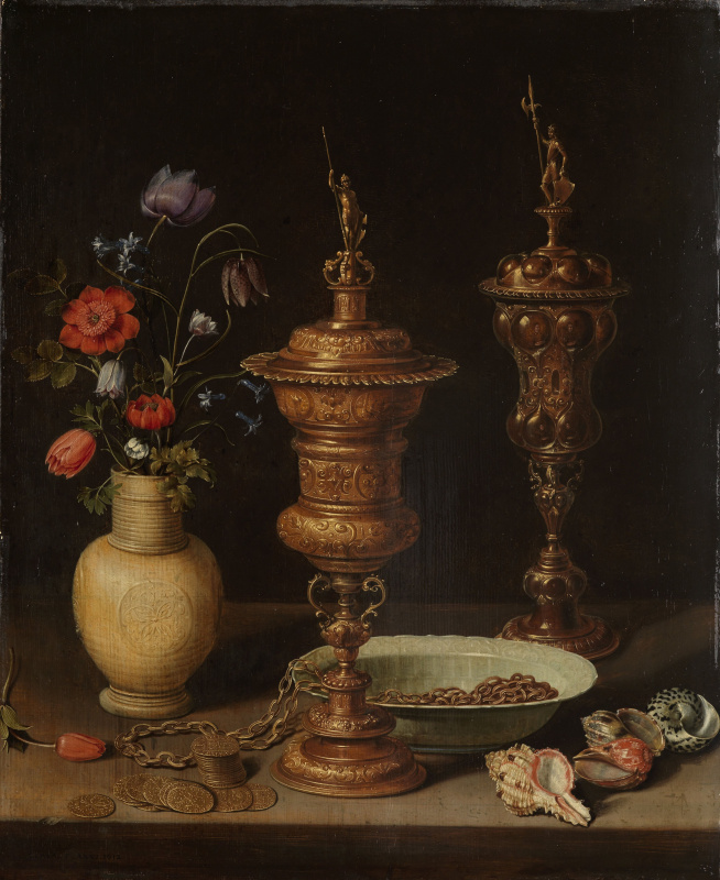 Clara Peeters. Still life with flowers, gilded cups, coins and shells