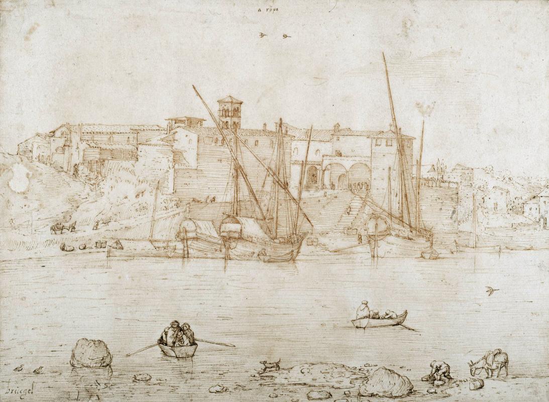 Pieter Bruegel The Elder. View of the Ripa Grande in Rome
