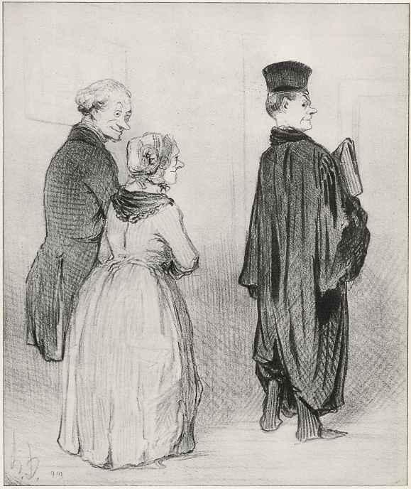 """Оноре Домье. Гордость его родителей: """"И дома носи своё служебное платье."""""""