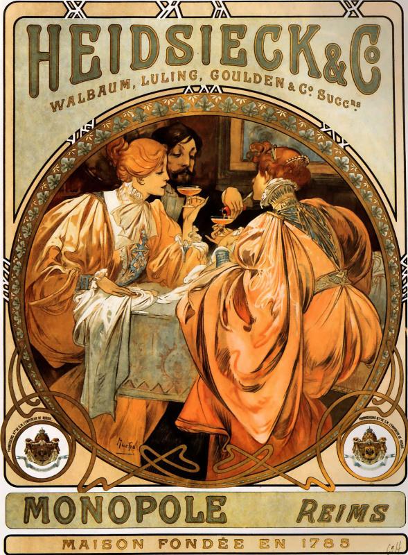 Альфонс Муха. Рекламный плакат для Хайдсик и Ко