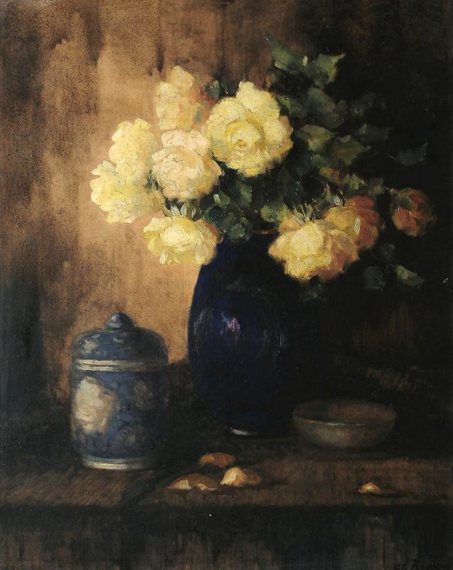 Леонид Исаакович Фрешкоп. Натюрморт с желтыми розами.