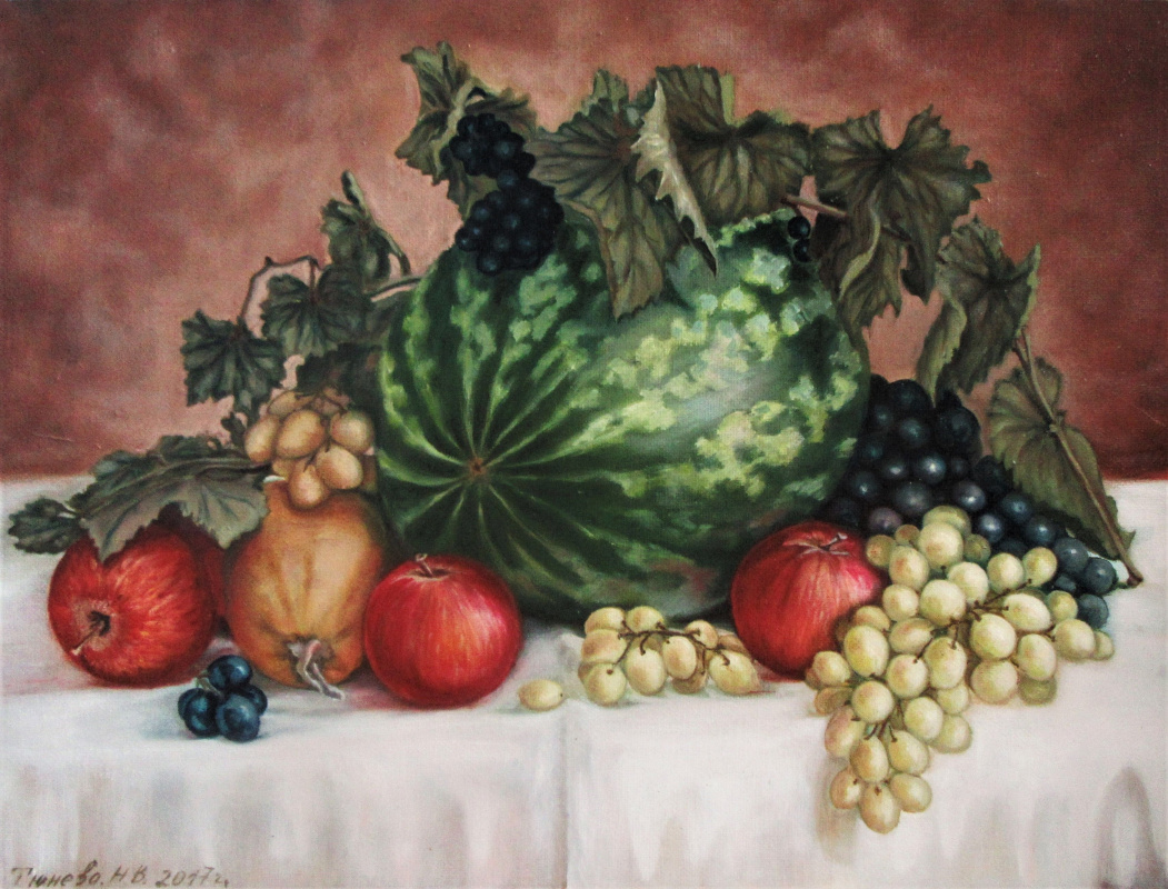 Natalia Viktorovna Tyuneva. Still life with watermelon