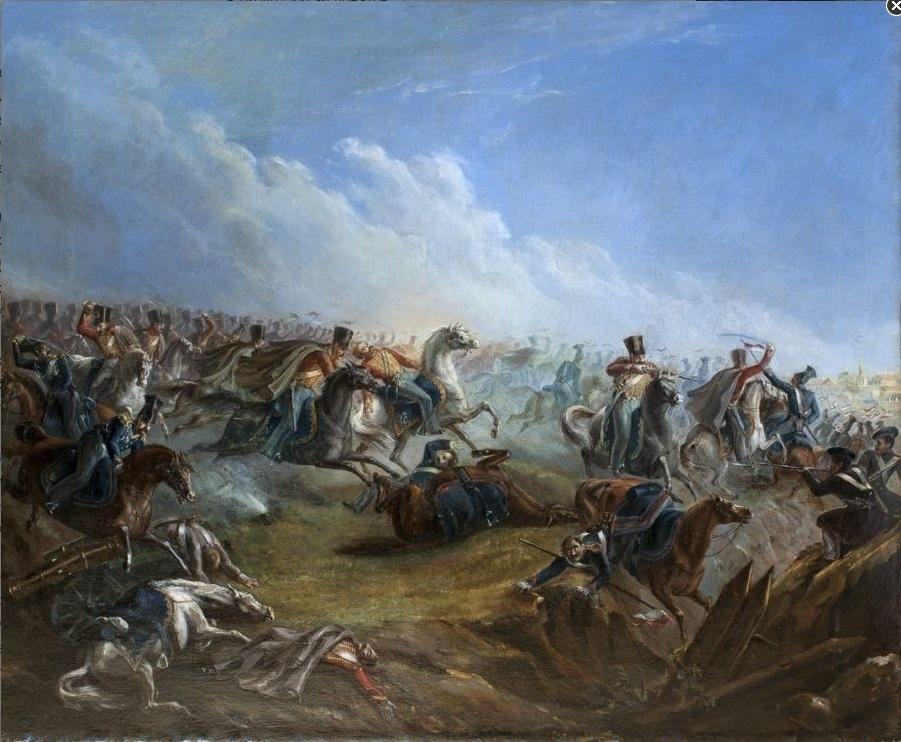 Михаил Юрьевич Лермонтов. Атака лейб-гвардии гусар под Варшавой 26 августа 1831 года