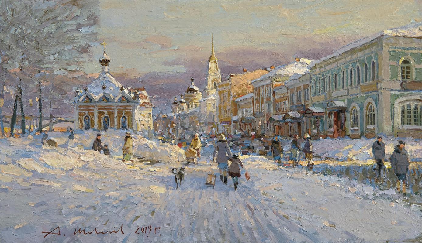 Alexander Victorovich Shevelyov. Volzhskaya embankment in winter. Oil on canvas 32 x 55.5 cm. 2019