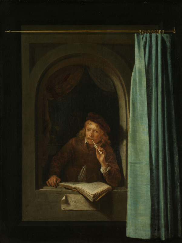 Gerrit (Gerard) Dow. Man with pipe and book (self-Portrait)