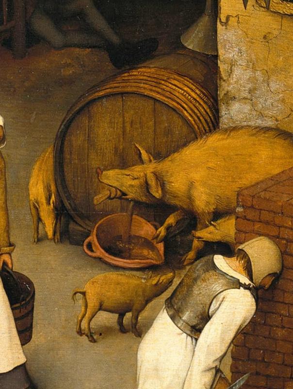 Питер Брейгель Старший. Фламандские пословицы. Фрагмент: Свинья открывает затычку - небрежность оборачивается катастрофой