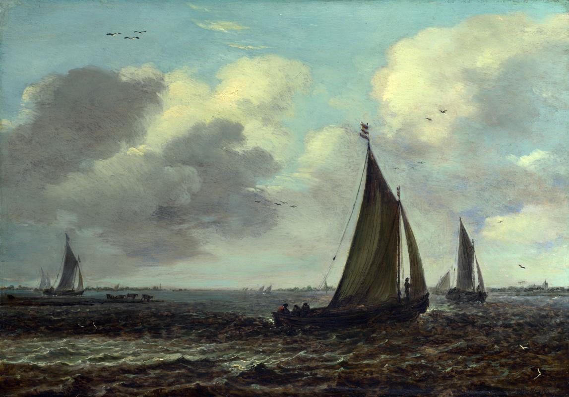 Оф Ян ван Гоуен Подражатель. Парусники на реке в ветер