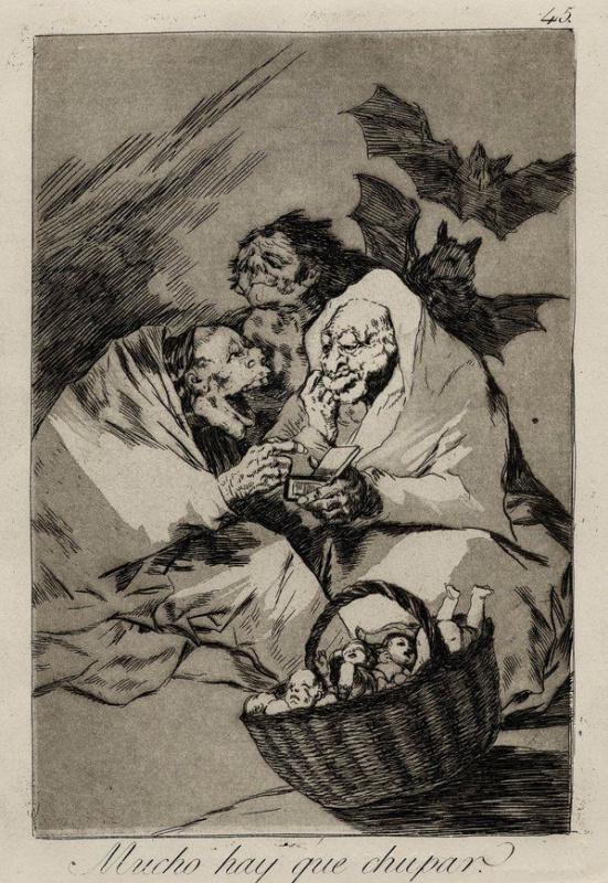"""Франсиско Гойя. Эти старухи высасывают соки из младенцев (Есть чем поживиться). Лист 45 из серии """"Капричос"""""""