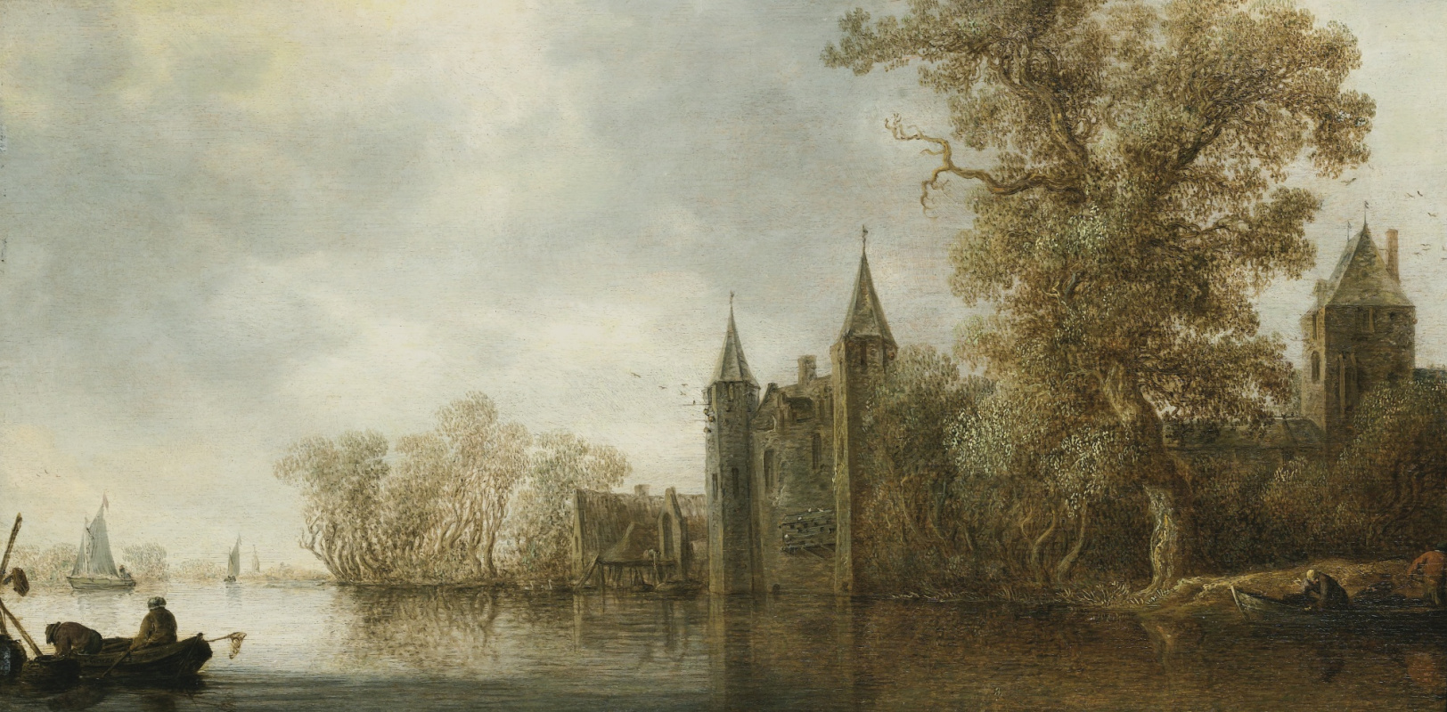 Jan van Goyen. Medieval fortress on the banks of the river