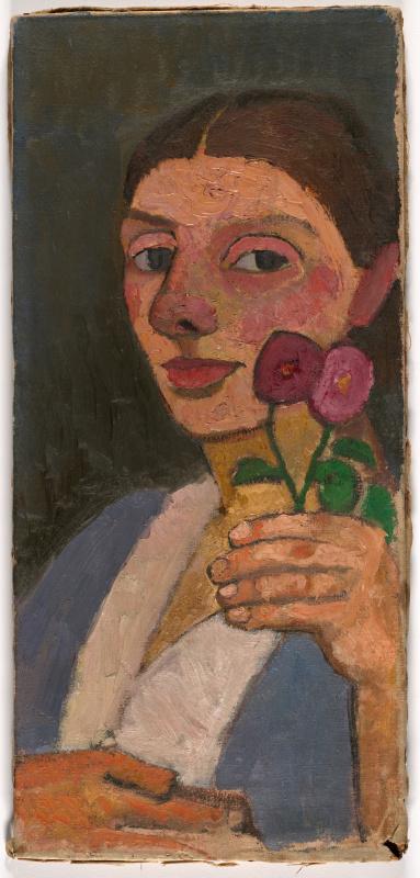 Паула Модерзон-Беккер. Автопортрете с двумя цветами в поднятой левой руке