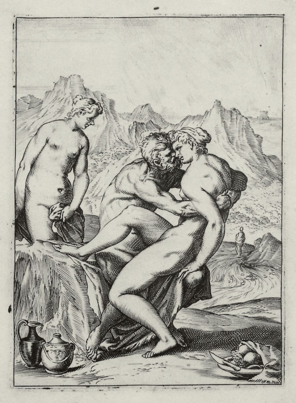 """Agostino Carracci. The series of """"Sensuality"""", Lot and his daughters"""