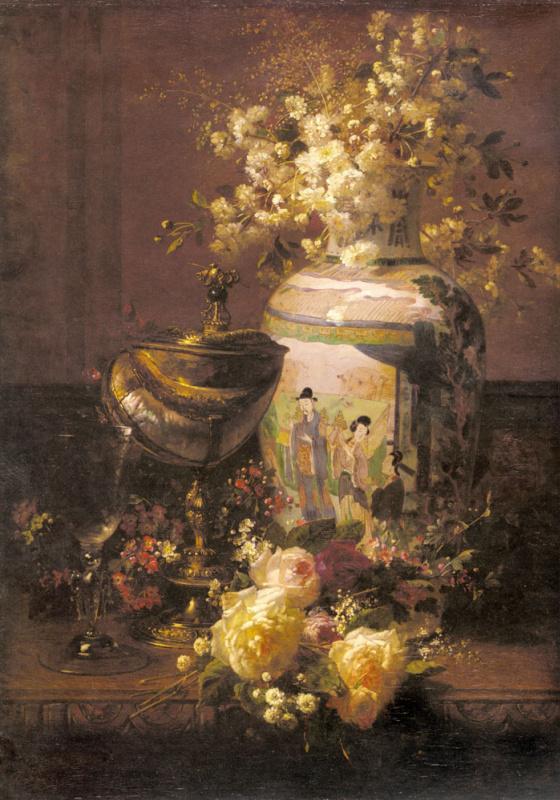 Натюрморт с японской вазой и цветами