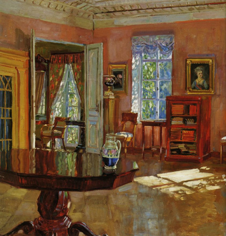 Stanislav Yulianovich Zhukovsky. The interior of the library is a stately home. Fragment