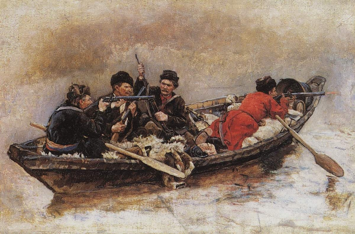 """Vasily Ivanovich Surikov. Cossacks in the boats. A sketch for the painting """"the Conquest of Siberia by Yermak"""""""