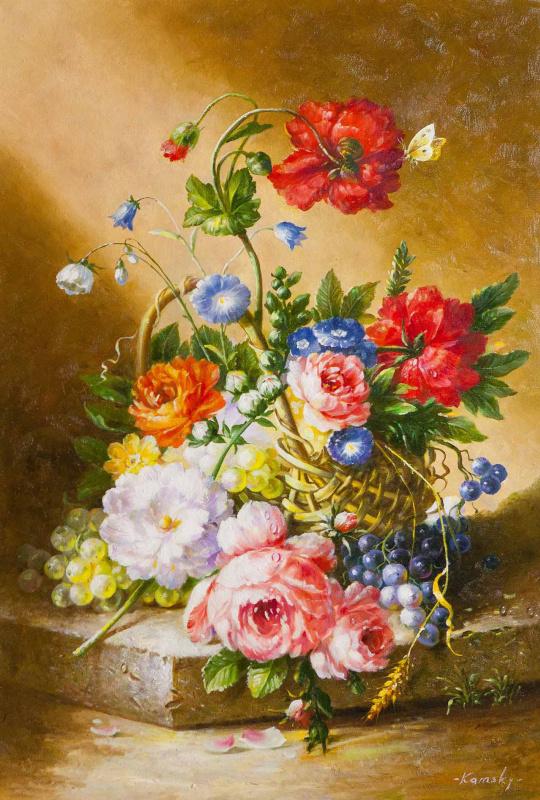 Савелий Камский. Корзина с цветами и виноградом
