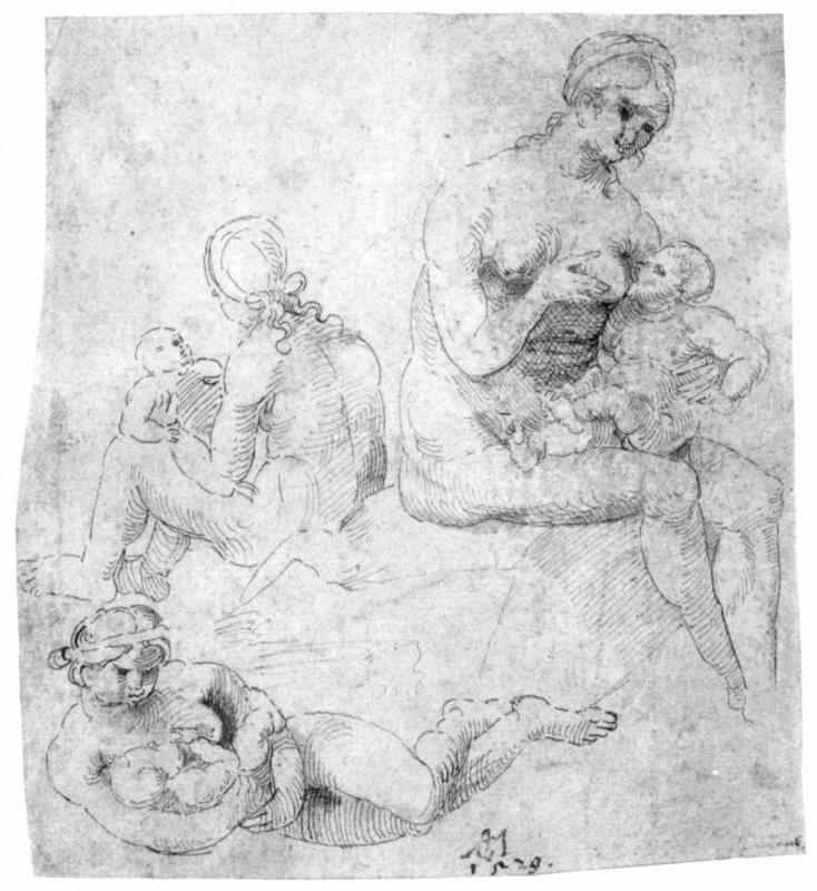 Ганс Зюс фон Кульмбах. Лист этюдов с тремя обнаженными женщинами с младенцами
