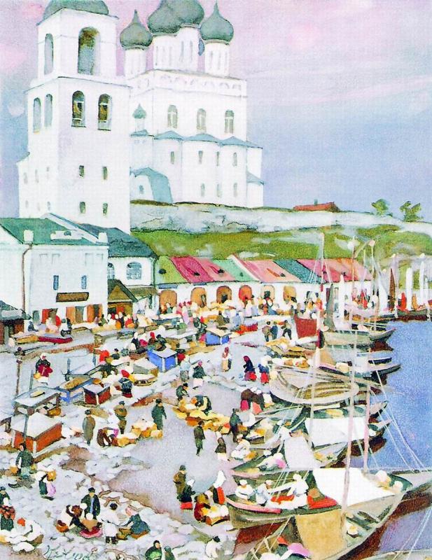 Константин Федорович Юон. Лодки у берега. Псков. 1904.  белила
