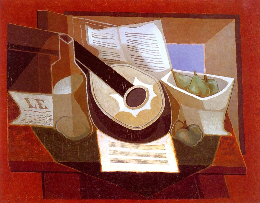 Juan Gris. Mandolin and fruit plate