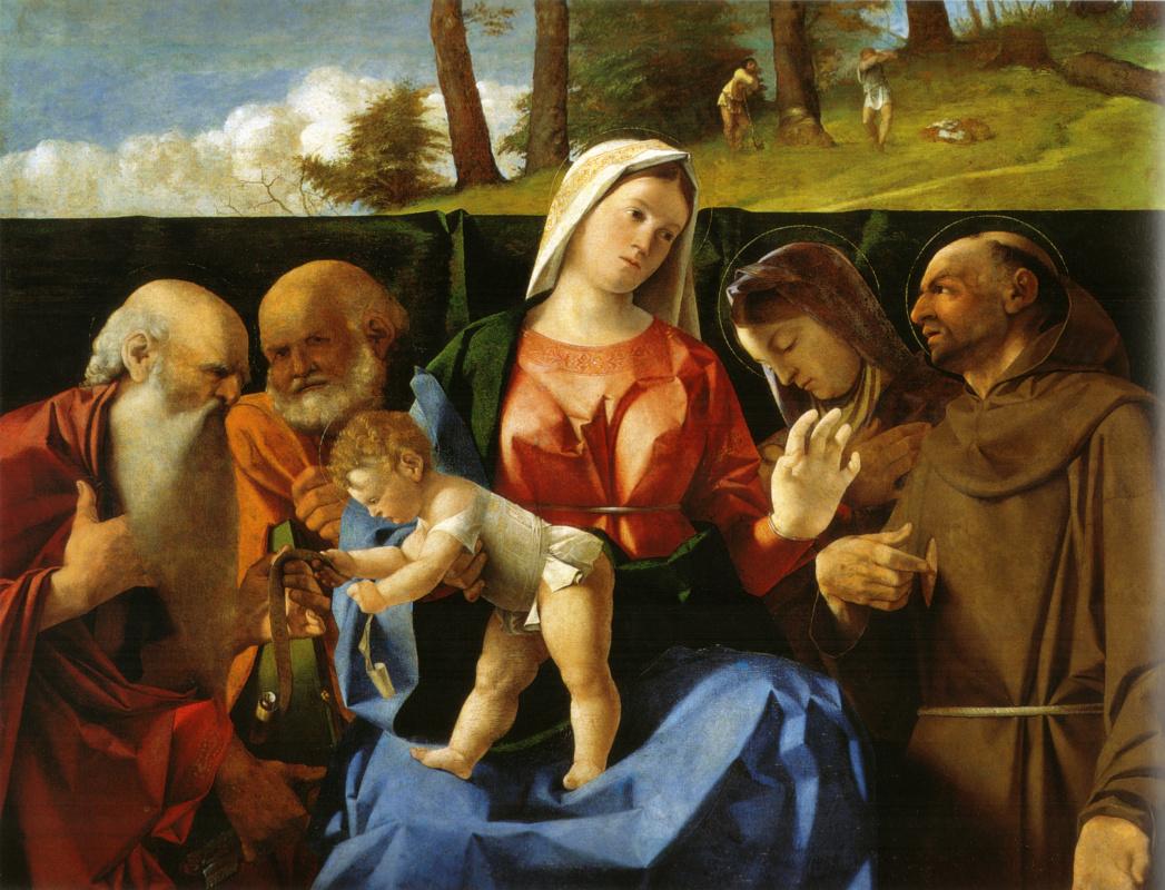 Lorenzo Lotto. Madonna and child with saints