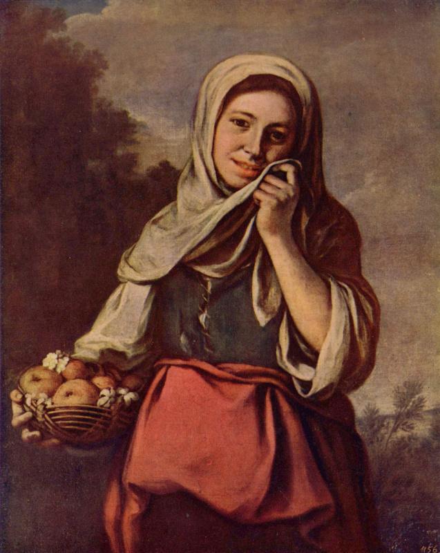Bartolomé Esteban Murillo. Girl with fruit and flowers