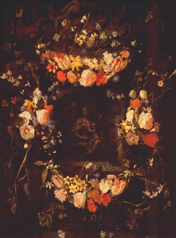 Гирлянда из цветов со Святым семейством