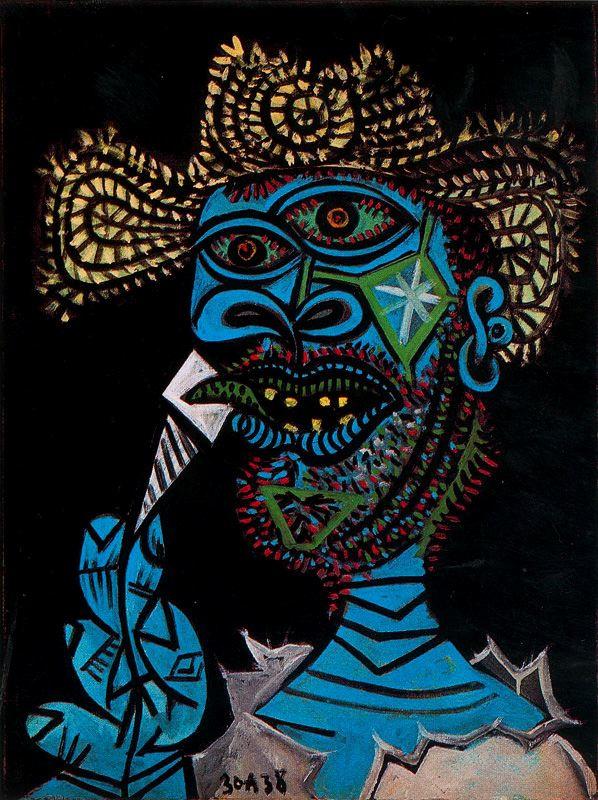 Пабло Пикассо. Мужчина в соломенной шляпе с мороженым