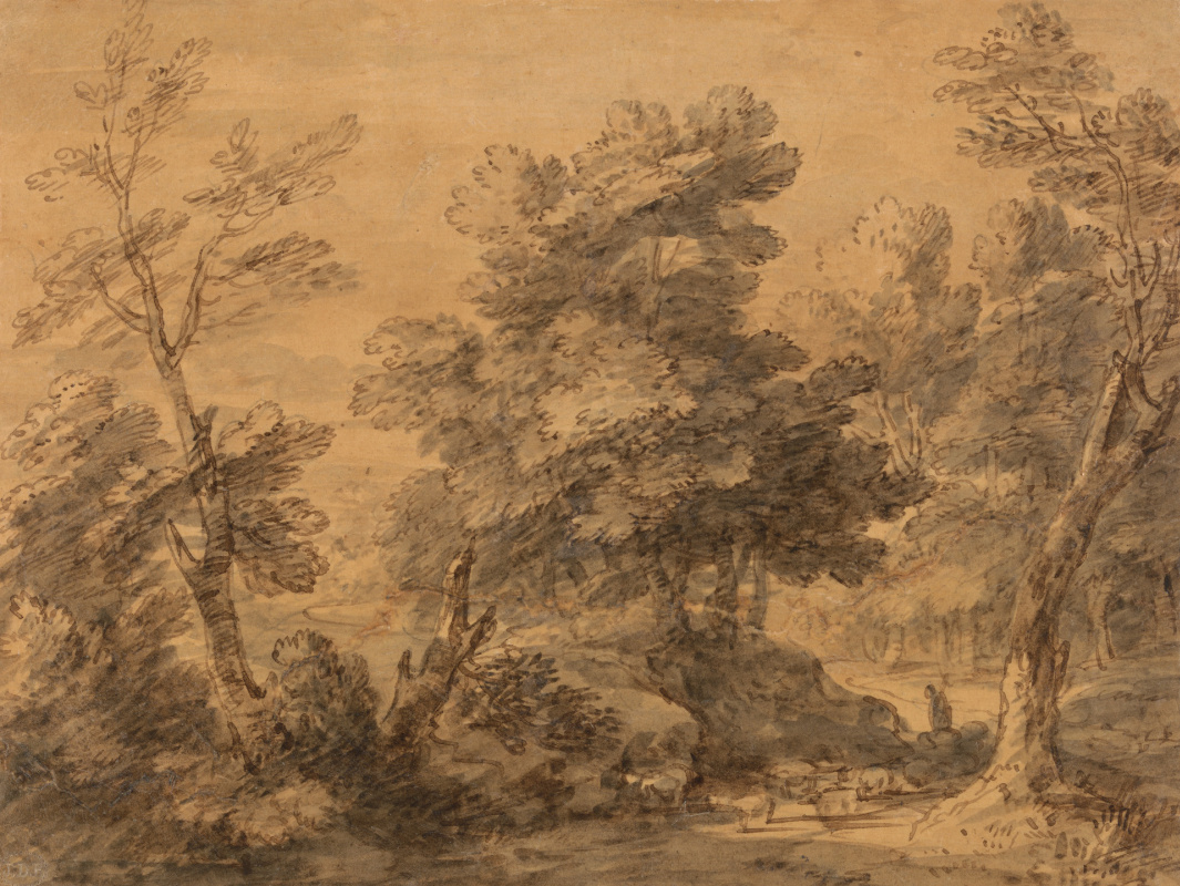 Thomas Gainsborough. Wooded landscape with shepherd and sheep