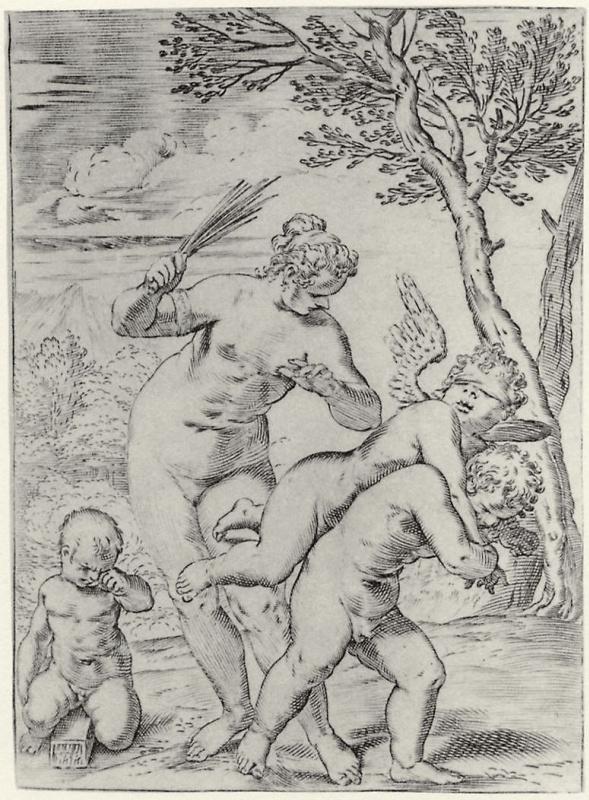 Agostino Carracci. Venus punishing Eros