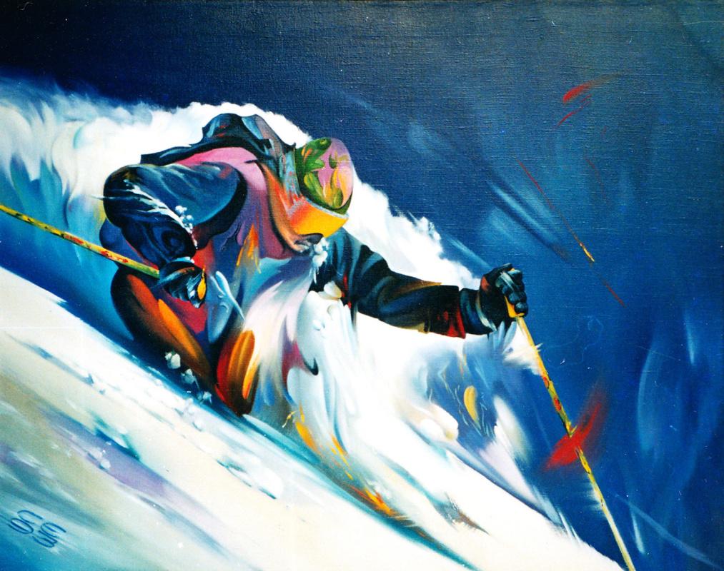 Sergey Ivanovich Elizarov. Skiing. Powder