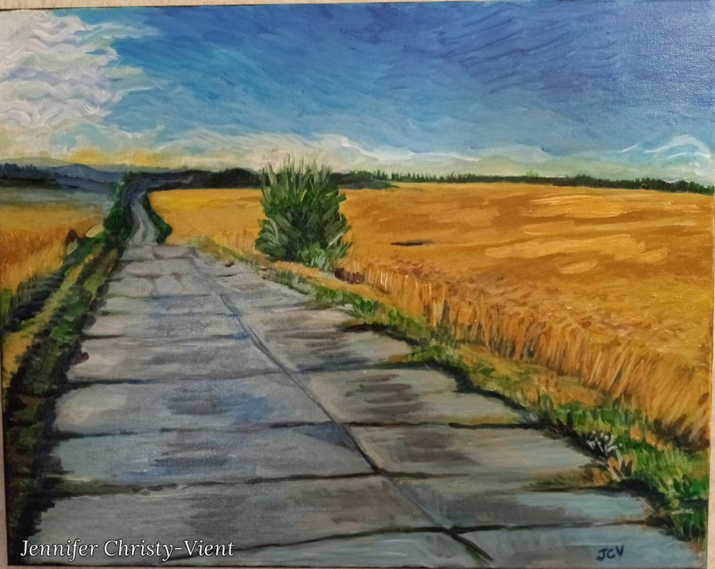 Jennifer Christy-Vient. Road through a wheat field