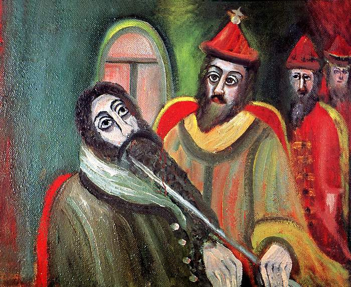 Alexey Vladimirovich Kondratenko. Tsar Ivan the Terrible measures the beard of the English merchant Richard Chansler