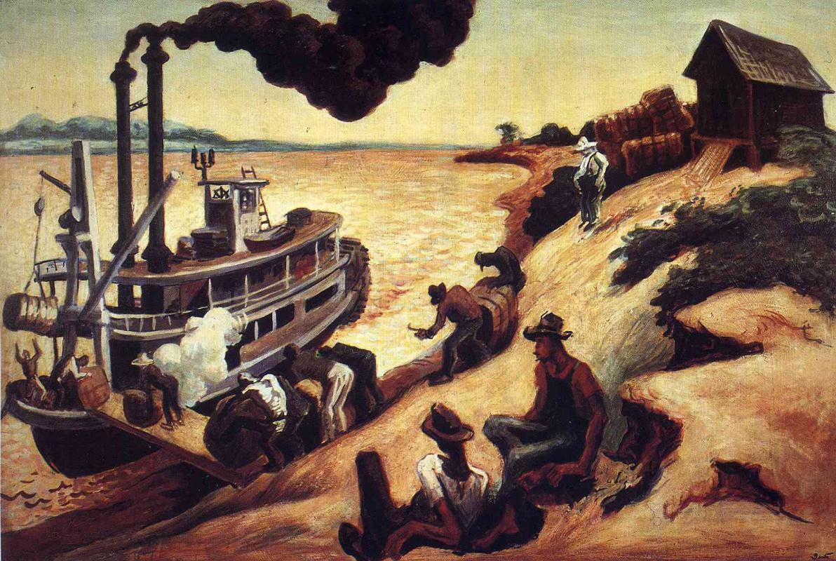 Томас Харт Бентон. Корабль у берега