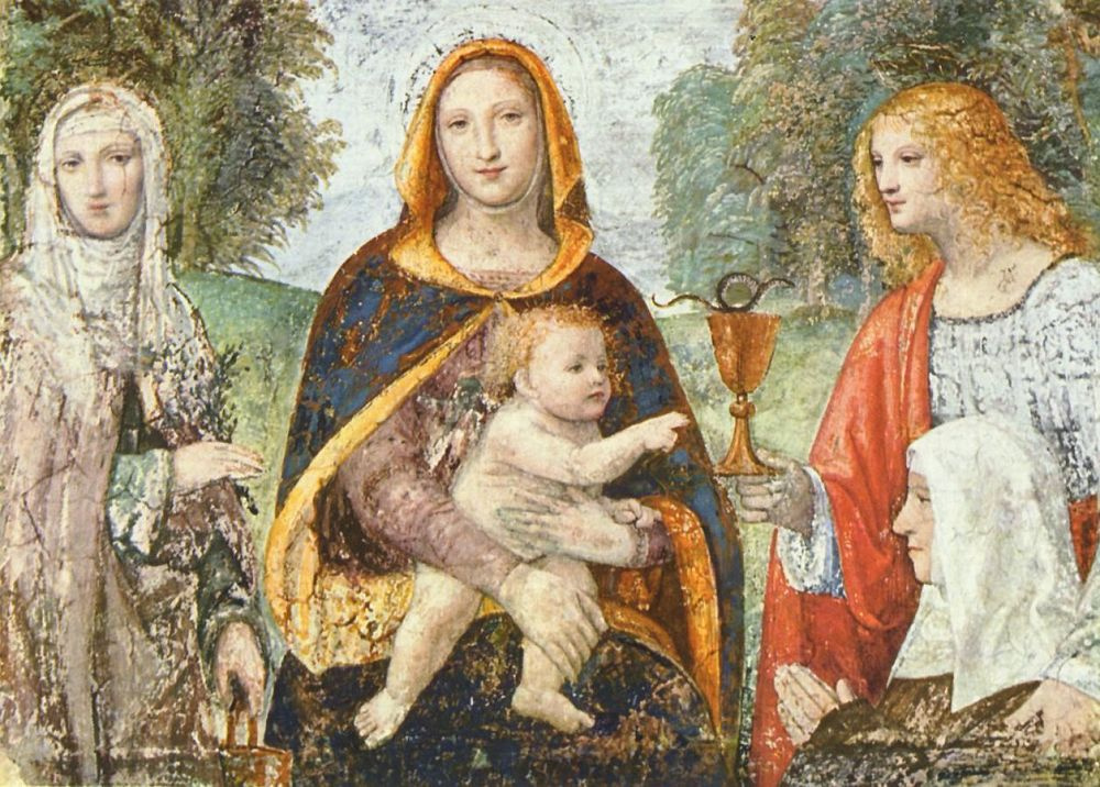 Бернардино Луини. Мадонна со св. Марфой, Иоанном Евангелистом и монахиней