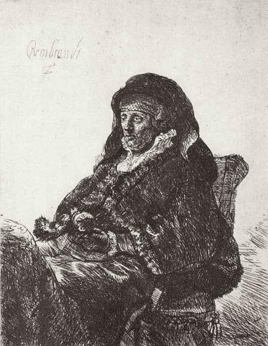 Рембрандт Ван Рейн. Портрет матери с темными перчатками в руке