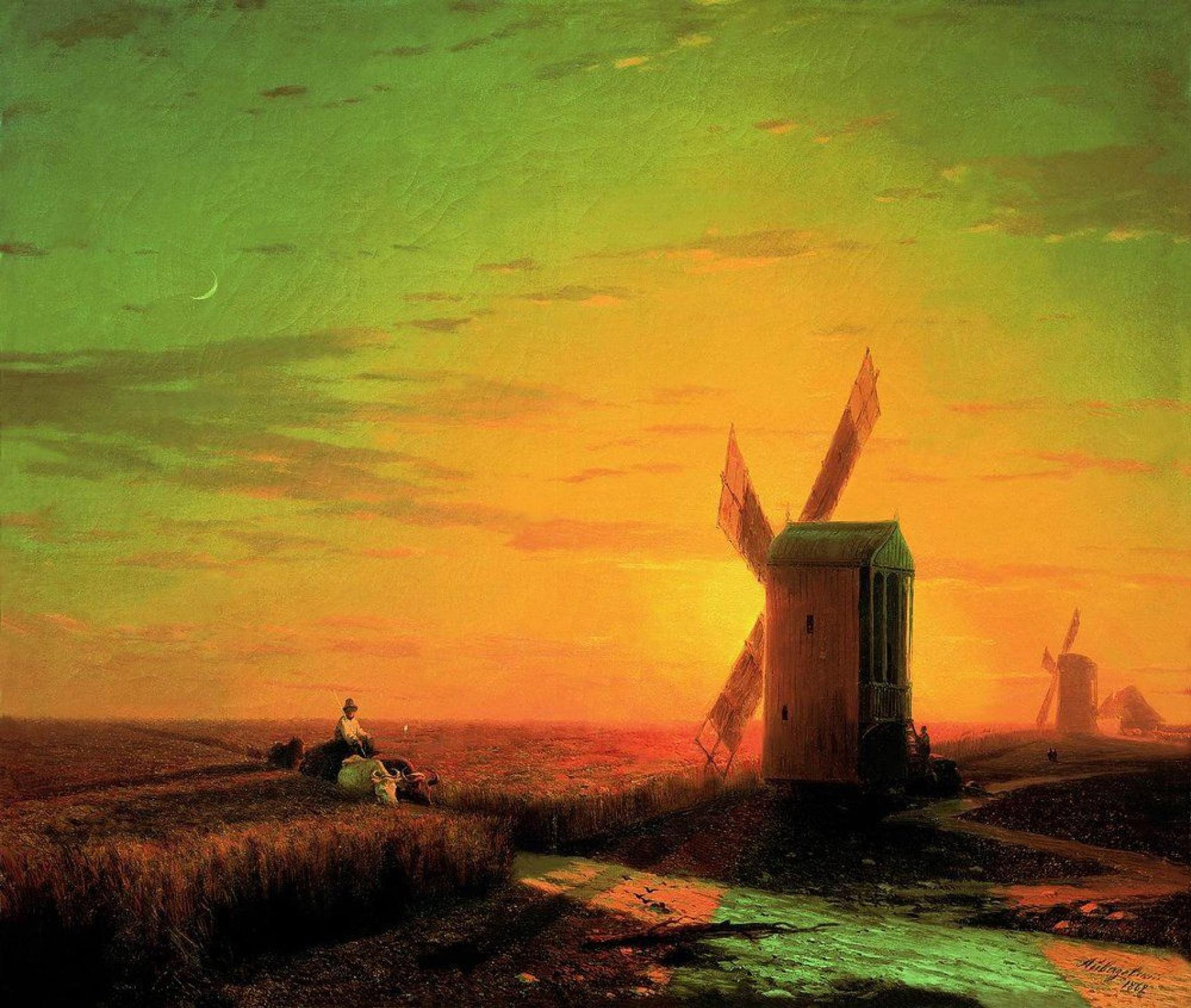 Иван Константинович Айвазовский. Ветряные мельницы в украинской степи при закате солнца