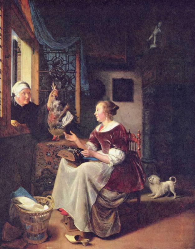 Питер Корнелис ван Слингеландт. Старуха, подающая петуха молодой женщине через окно