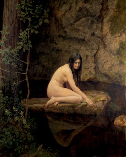 John Collier. Seated Nude girl