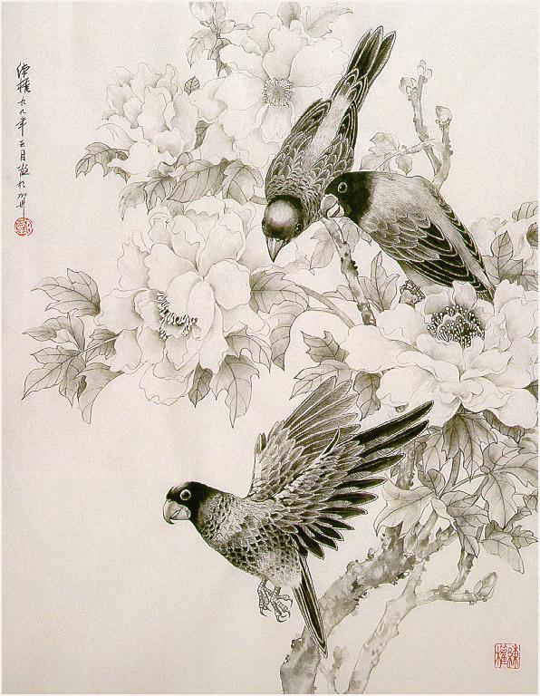 Чжэнь Лин-Куан. Три попугая и пион