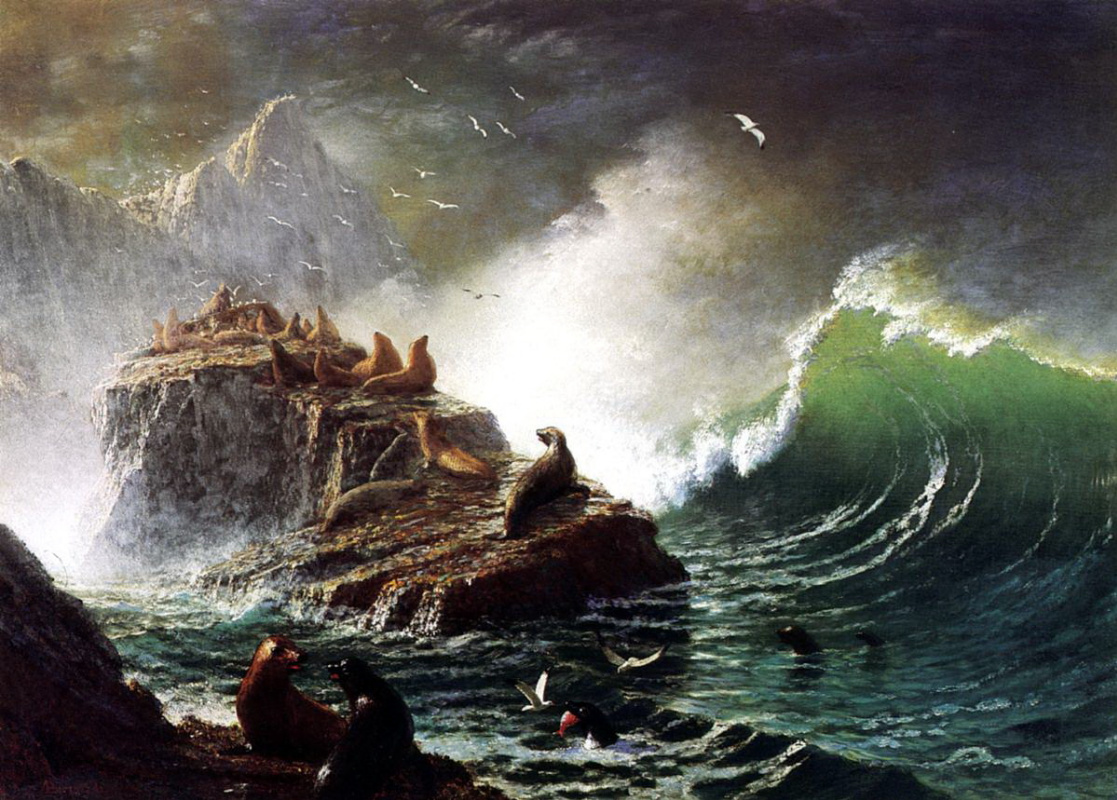 Альберт Бирштадт. Тюлени на скалах острова Фараллон