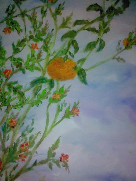 "Rita Arkadievna Beckman. Triptych ""The Last Mandarin"". Mandarin and pomegranate cetas"